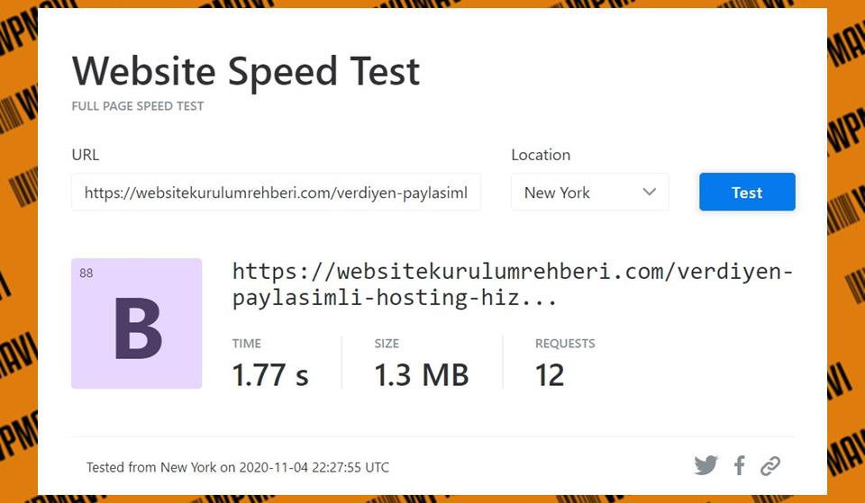 Türk web hosting - KeyCDN Veridyen Test 4