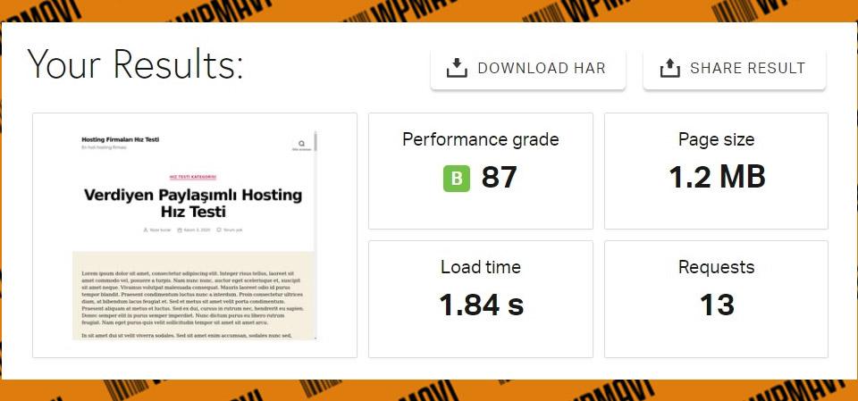 Hosting firması öneri - - Pingdom Veridyen Test 2