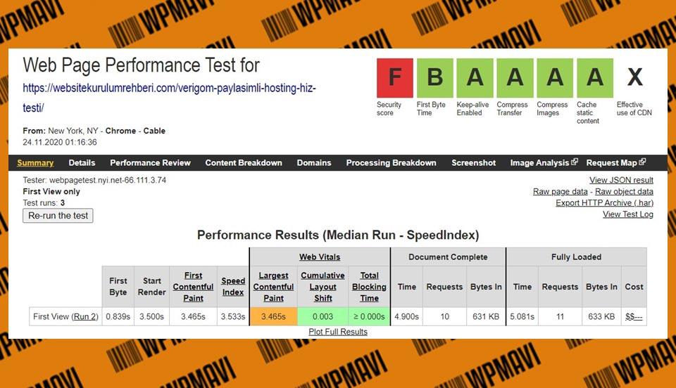 Webpagetest Sonuçları Verigom - hangi hosting firması daha iyi