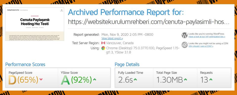 Gtmetrix Cenuta Test 3 - En iyi hosting şirketleri