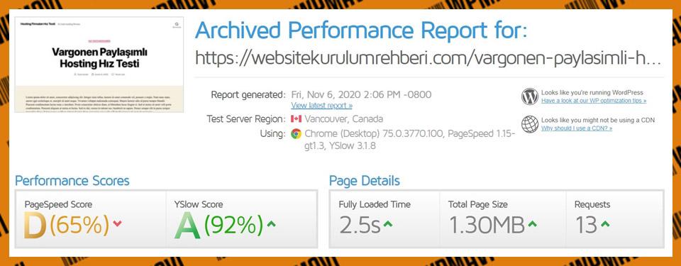 Gtmetrix Vargonen Test 4 - En iyi hosting siteleri