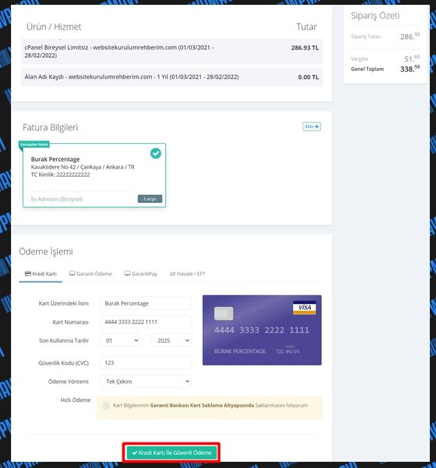 Hosting ve domain alma - ödeme ekranı