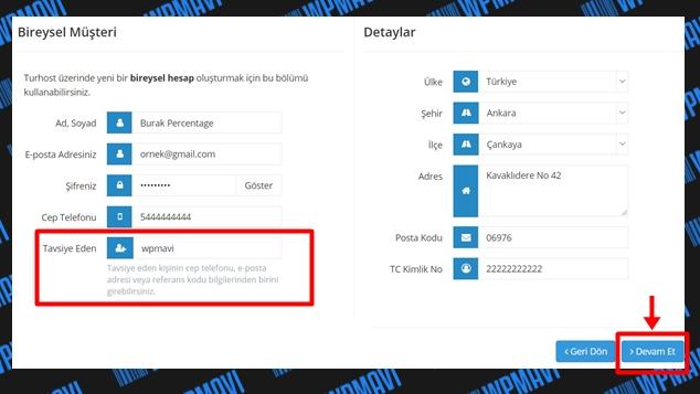 Hosting hizmeti satın al - üyelik bilgilerini doldurma ekranı