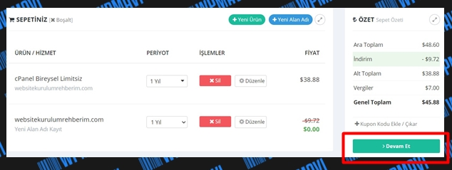 Ekonomik hosting satın al - Sepet ekranını gözden geçirme