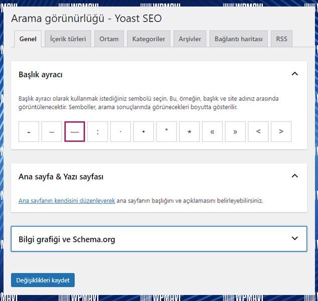 Yoast SEO AYoast SEO Ayarları Arama Görünürlüğü Genel Başlık Başlık Ayracı ve Ana Sayfa Ayarlarıyarları Search Appearance Genel Başlık Başlık Ayracı ve Ana Sayfa Ayarları