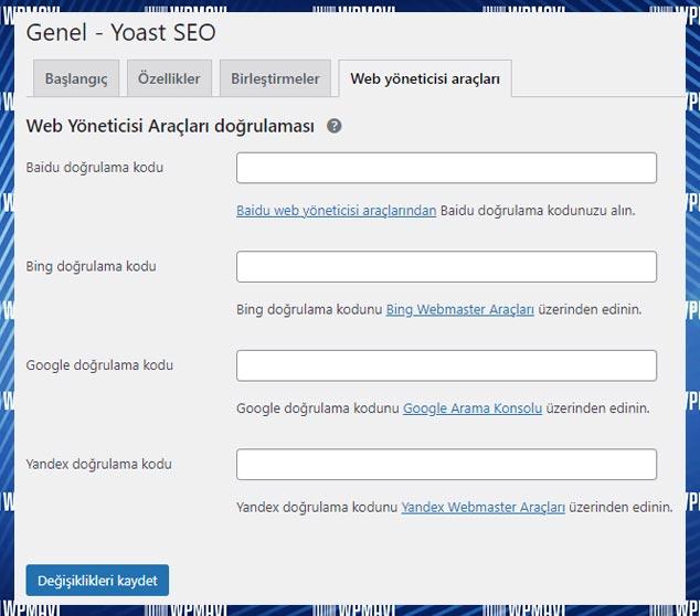 Yoast SEO Ayarları Web Yöneticileri Araçları